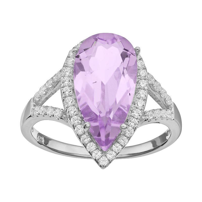 Rebecca Sloane Amethyst & Cubic Zirconia Platinum Over Silver Teardrop Halo Ring