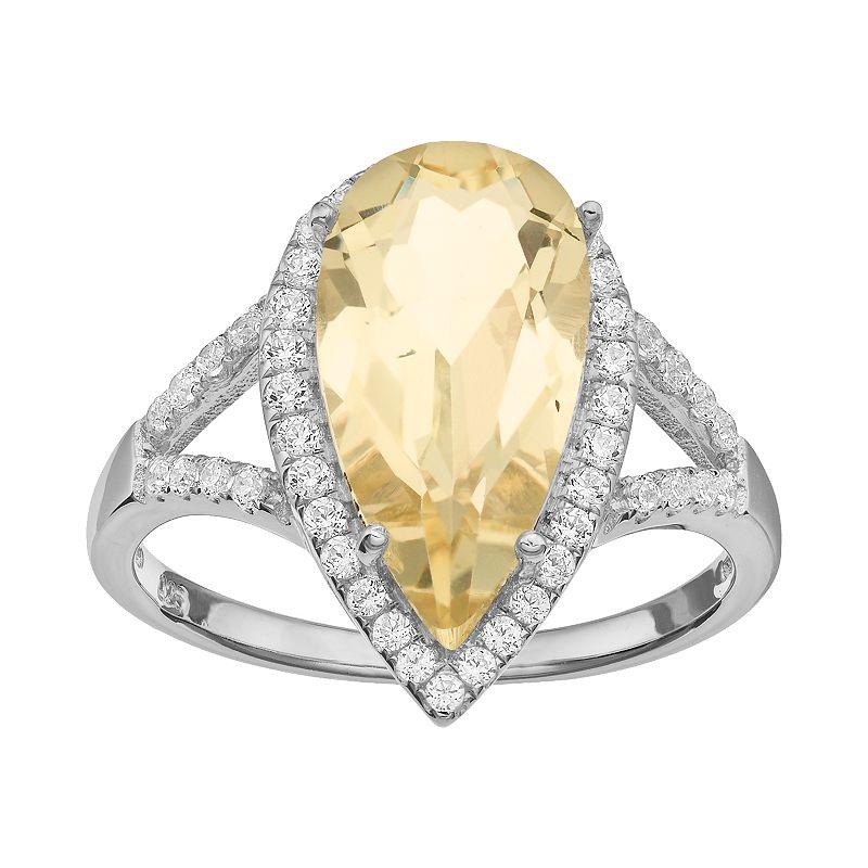Rebecca Sloane Citrine & Cubic Zirconia Platinum Over Silver Teardrop Halo Ring