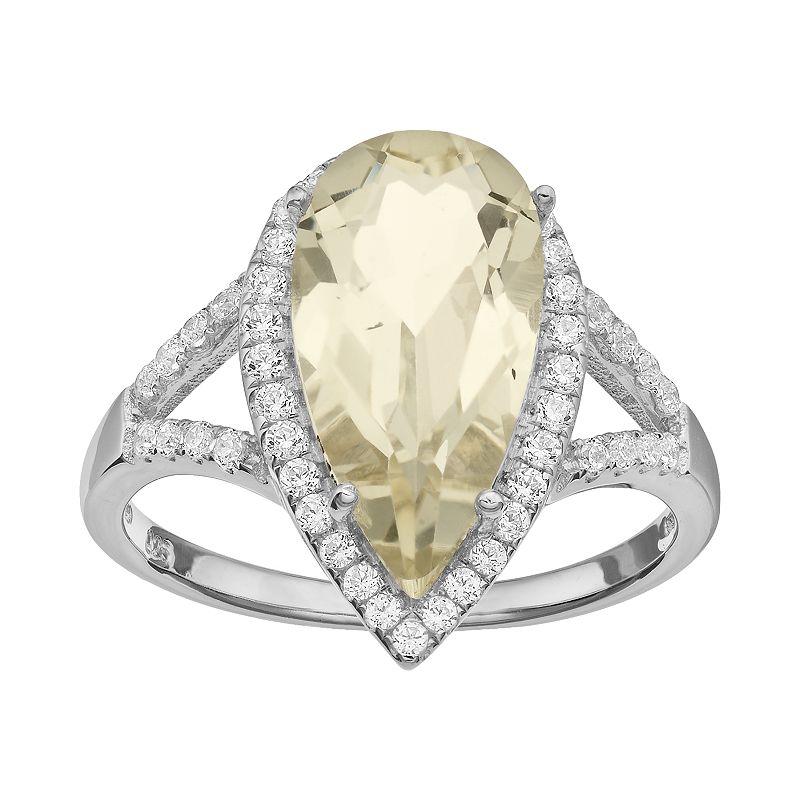 Rebecca Sloane Lemon Quartz & Cubic Zirconia Platinum Over Silver Teardrop Halo Ring
