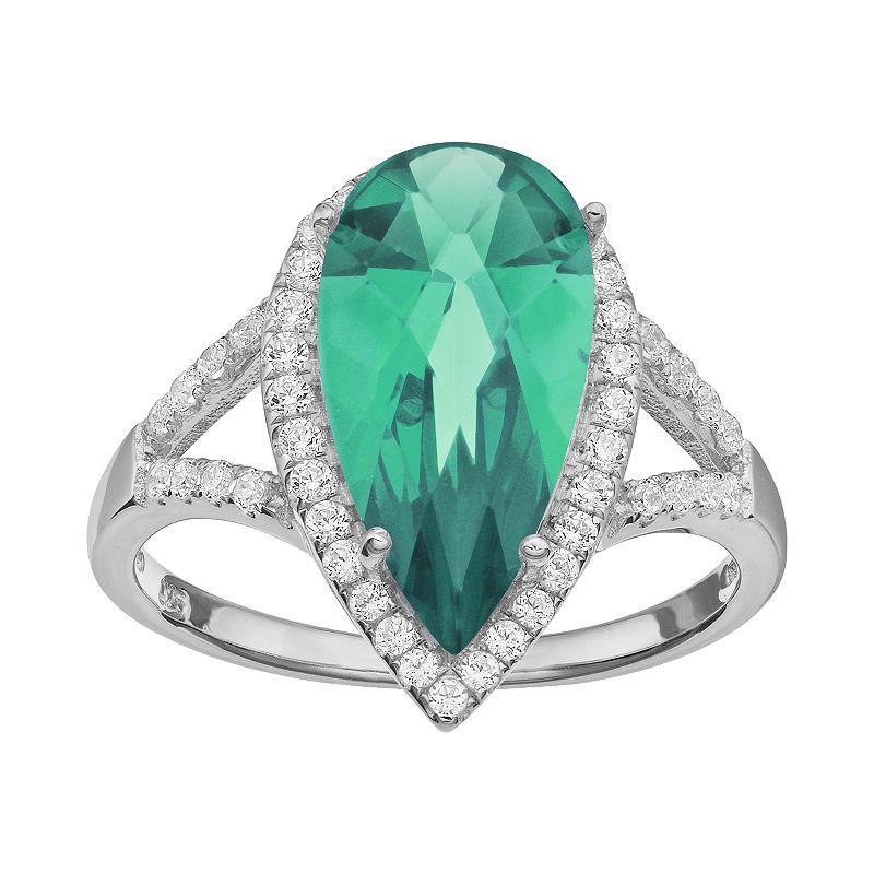 Rebecca Sloane Green Obsidian & Cubic Zirconia Platinum Over Silver Teardrop Halo Ring