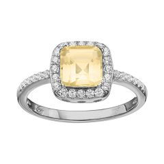 Rebecca Sloane Citrine & Cubic Zirconia Platinum Over Silver Halo Ring