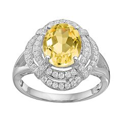 Rebecca Sloane Citrine & Cubic Zirconia Platinum Over Silver Halo Ring by