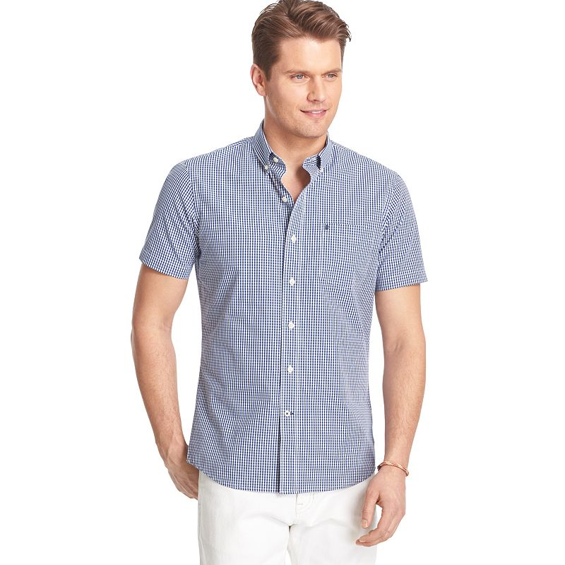 Big & Tall IZOD Saltwater Classic-Fit Gingham Checked Casual Button-Down Shirt