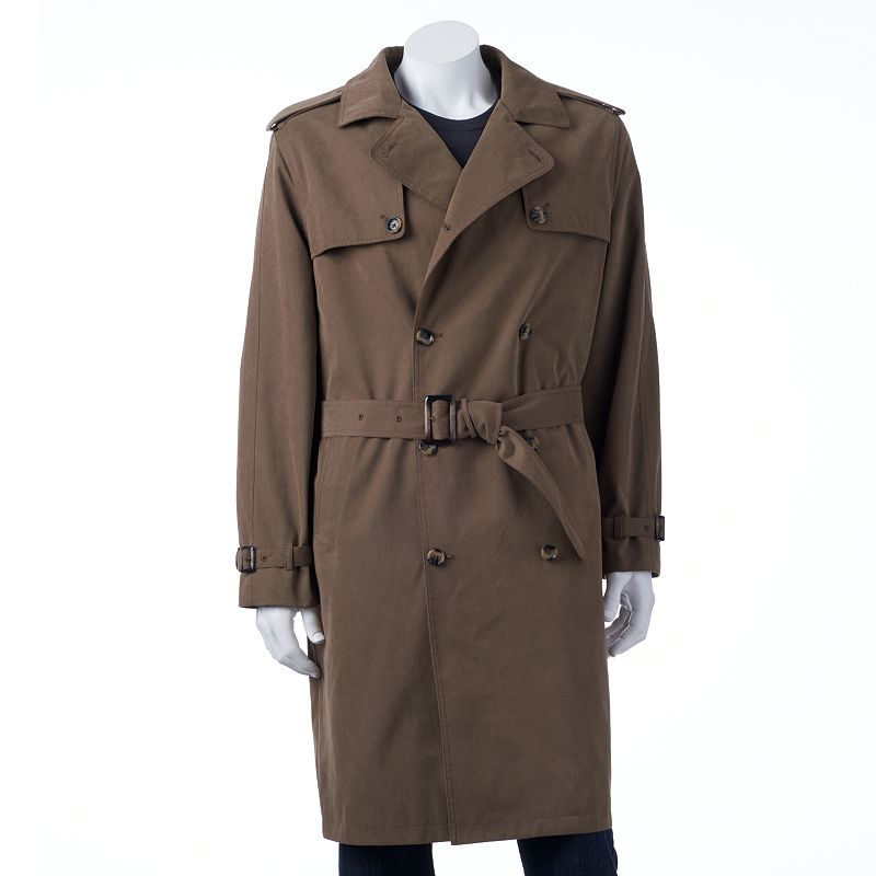 Men's Towne by London Fog Raised Twill Double-Breasted Rain Coat