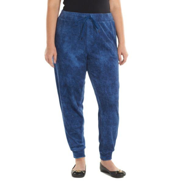 Plus Size Juicy Couture Faux-Denim Velour Jogger Pants
