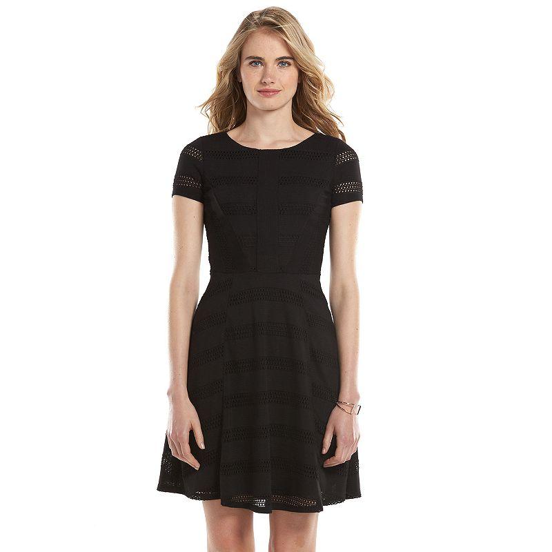 LC Lauren Conrad Open-Work Fit & Flare Dress - Women's