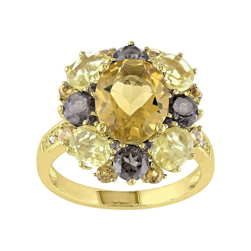 Citrine, Smoky Quartz & Diamond Accent Yellow Rhodium-Plated Sterling Silver Ring