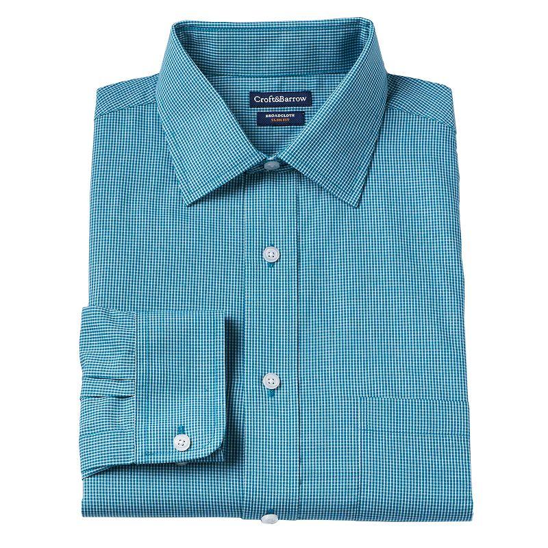 Men's Croft & Barrow® Slim-Fit Broadcloth Mini Tri-Checked Dress Shirt