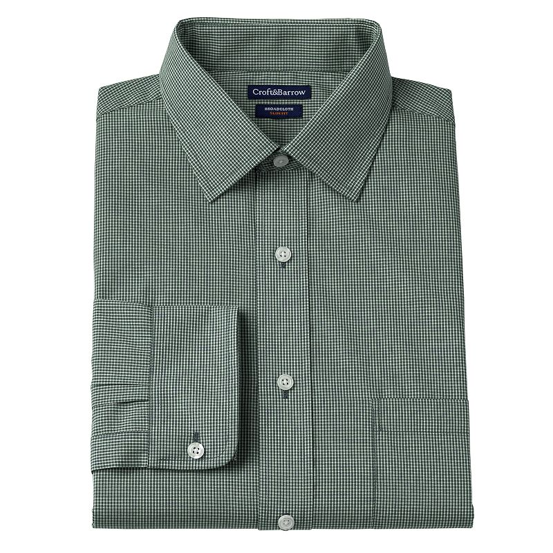 Men's Croft & Barrow® Slim-Fit Broadcloth Mini Tri-Checked Dress Shirt