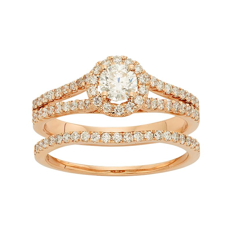 IGL Certified Diamond Halo Engagement Ring Set in 14k Rose Gold (1 Carat T.W.)