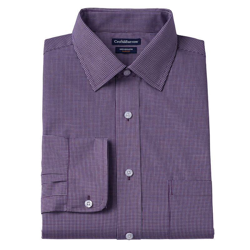 Men's Croft & Barrow® Fitted Broadcloth Tri-Checked Dress Shirt
