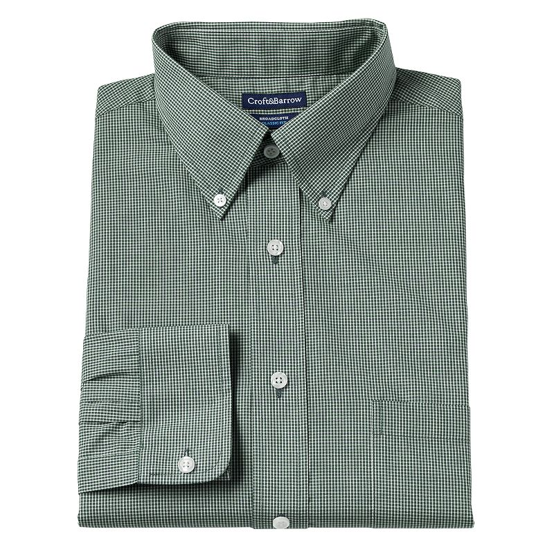 Men's Croft & Barrow Classic-Fit Broadcloth Checkered Dress Shirt
