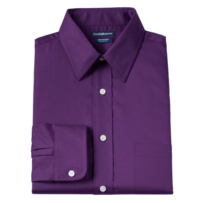 ... Barrow® Fitted Solid Broadcloth Point-Collar Dress Shirt | DealTrend