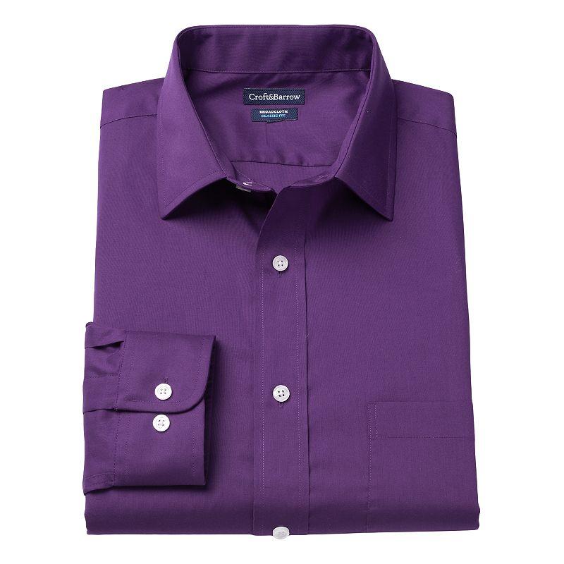 Men's Croft & Barrow® Classic-Fit Solid Broadcloth Spread-Collar Dress Shirt