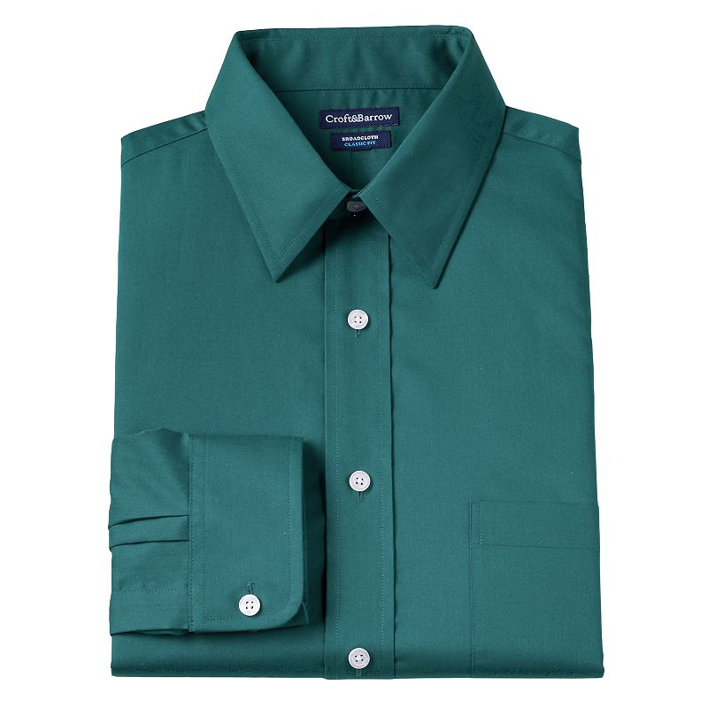 Men's Croft & Barrow® Fitted Solid Broadcloth Wrinkle-Resistant Point-Collar Dress Shirt