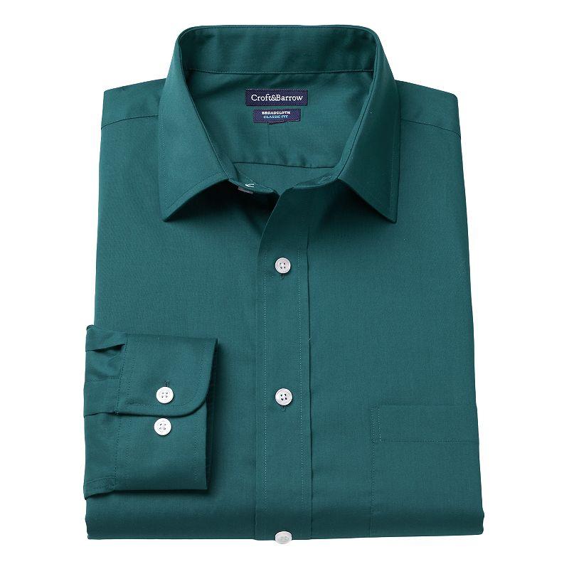 Men's Croft & Barrow® Slim-Fit Solid Broadcloth Spread-Collar Dress Shirt