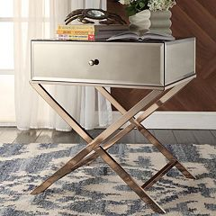 HomeVance Eleos Mirrored Gold Tone Campaign Accent Table by