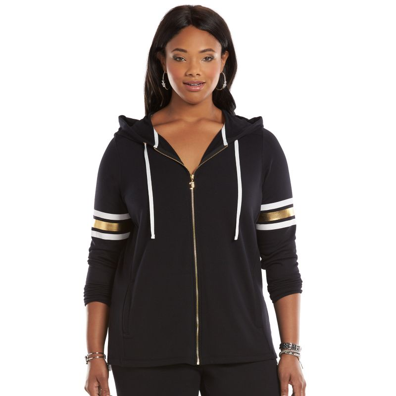 Plus Size Juicy Couture Embellished Hoodie, Women's, Size: 0X, Black