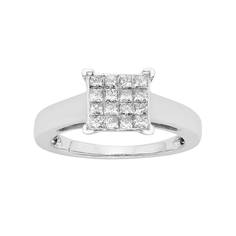 Diamond Square Cluster Engagement Ring in Platilite (1/2 Carat T.W.)