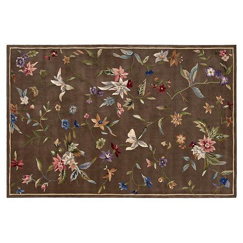 Nourison Julian Floral Brown Wool Rug, Dark Beige