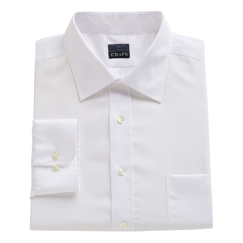 Big tall chaps classic fit solid no iron dress shirt for Mens no iron dress shirts