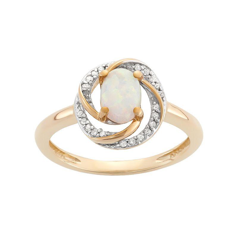 YellOra Lab-Created Opal & 1/10 Carat T.W. Diamond Oval Halo Ring