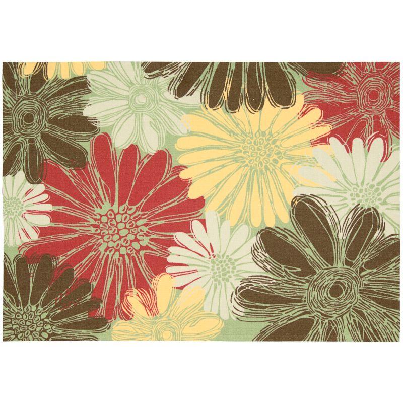 Nourison Home & Garden Daisy Floral Indoor Outdoor Rug, Green thumbnail