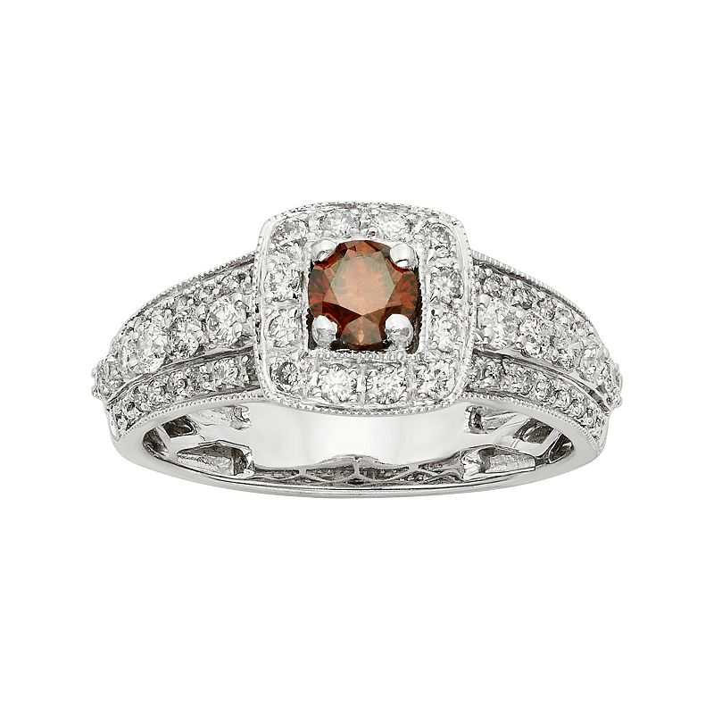 IGL Certified Red & White Diamond Square Halo Engagement Ring in 14k White Gold (1 Carat T.W.)