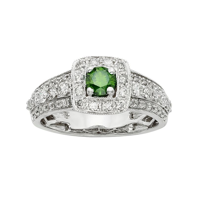 IGL Certified Green & White Diamond Square Halo Engagement Ring in 14k White Gold (1 Carat T.W.)