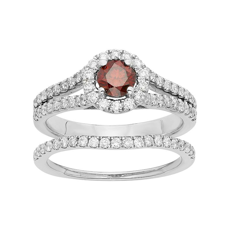 IGL Certified Red & White Diamond Halo Engagement Ring Set in 14k White Gold (1 Carat T.W.)