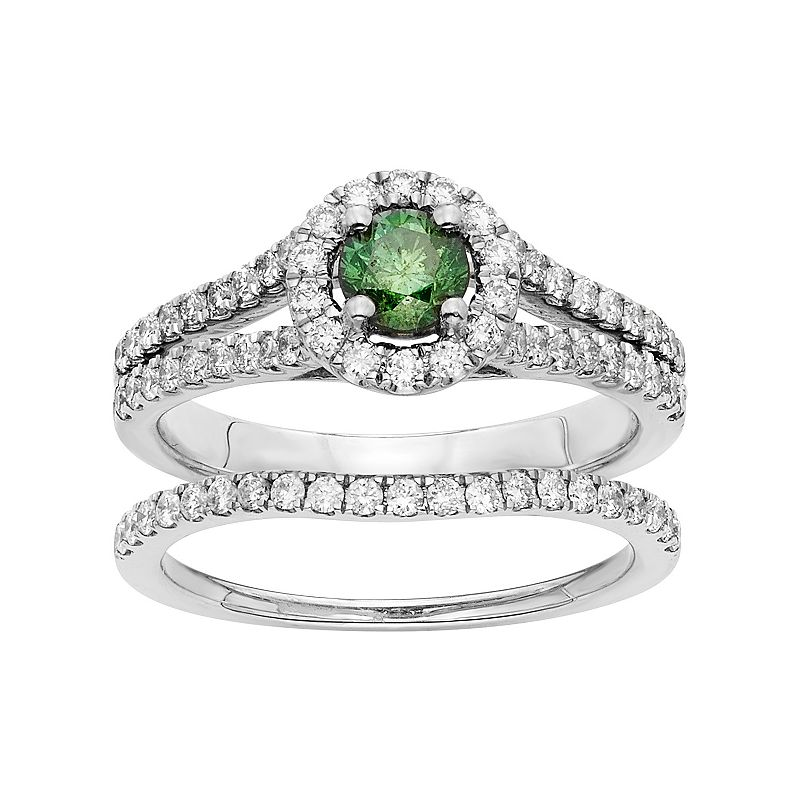 IGL Certified Green & White Diamond Halo Engagement Ring Set in 14k White Gold (1 Carat T.W.)