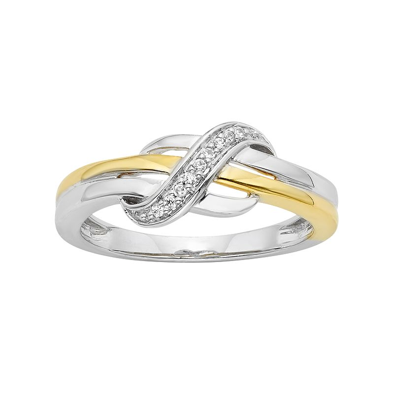 Diamond Accent Sterling Silver Two Tone Infinity Ring
