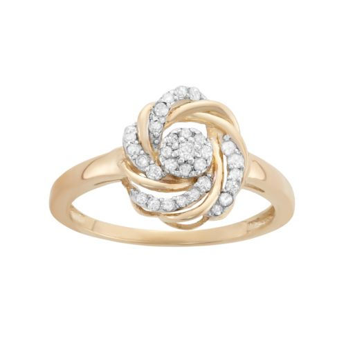 YellOra 1/4 Carat T.W. Diamond Knot Ring