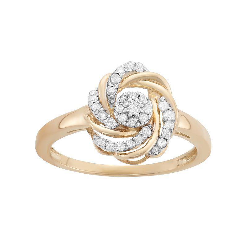 YellOra 1/4 Carat T.W. Diamond Knot Ring