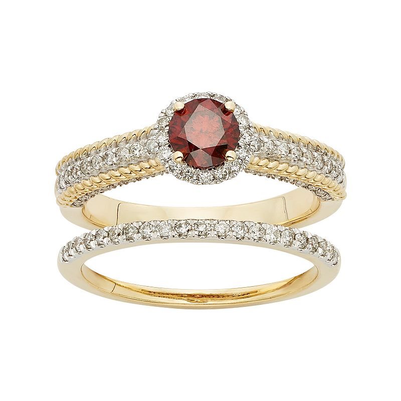 Red & White Diamond Halo Engagement Ring Set in 14k Gold (1 Carat T.W.)