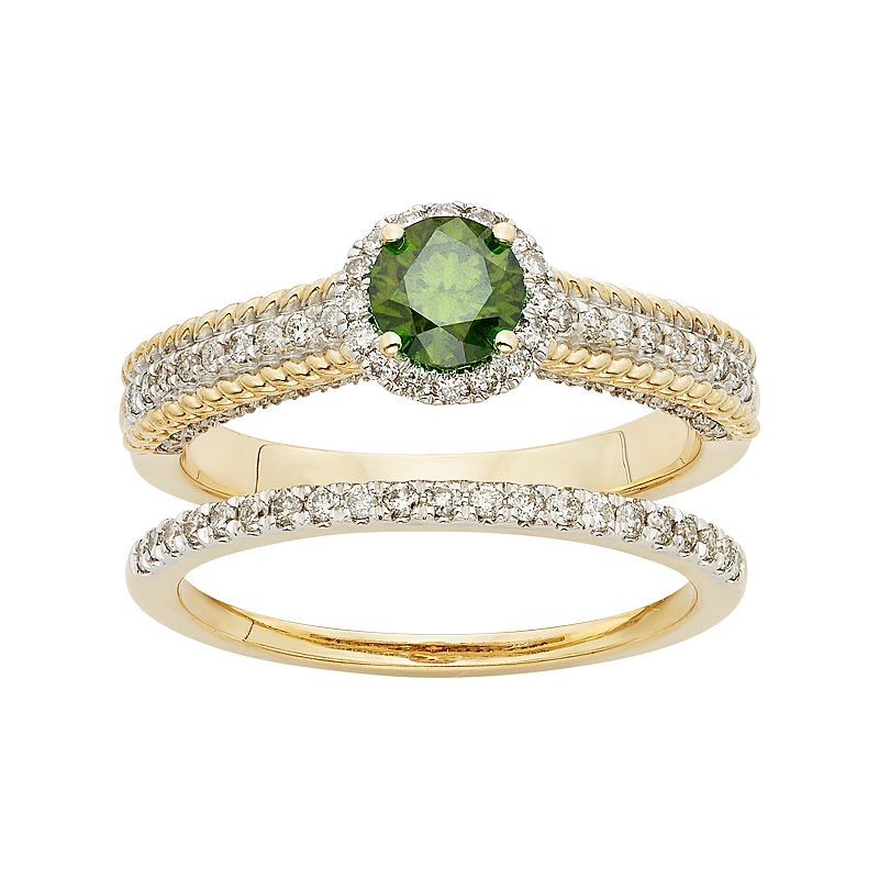 Green & White Diamond Halo Engagement Ring Set in 14k Gold (1 Carat T.W.)