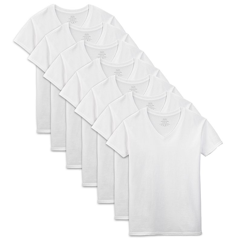 Men's Fruit of the Loom Signature 6-pack + 1 Bonus V-Neck Tees
