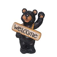 Smart Solar ''Welcome'' Bear Lighted Sign Decor