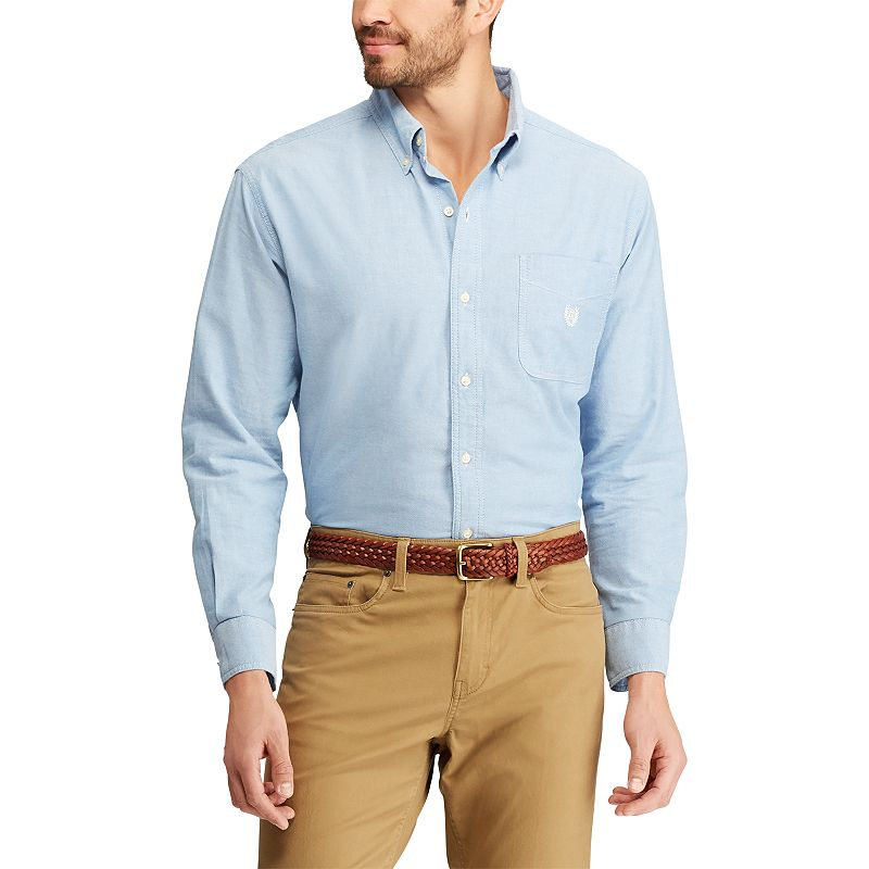 Men 39 s chaps classic fit solid oxford casual button down for Mens blue oxford shirt