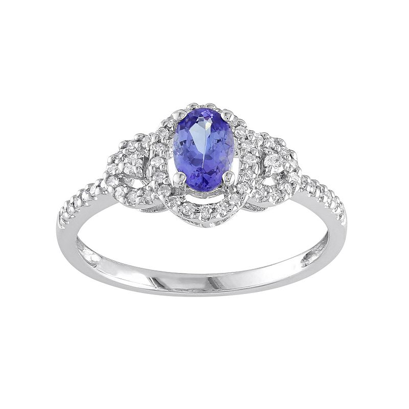 Tanzanite & 1/6 Carat T.W. Diamond 10k White Gold Oval Halo Ring