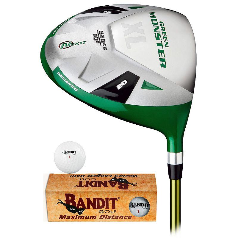Nextt Golf Green Monster XL Right Hand Driver & Bandit Golf Balls Set - Men's (Graphite/Green)