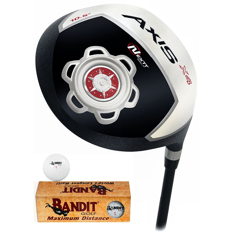 Nextt Golf Axis X4 SDZ Right Hand Driver & Bandit Golf Balls Set - Men's (Graphite/Green)