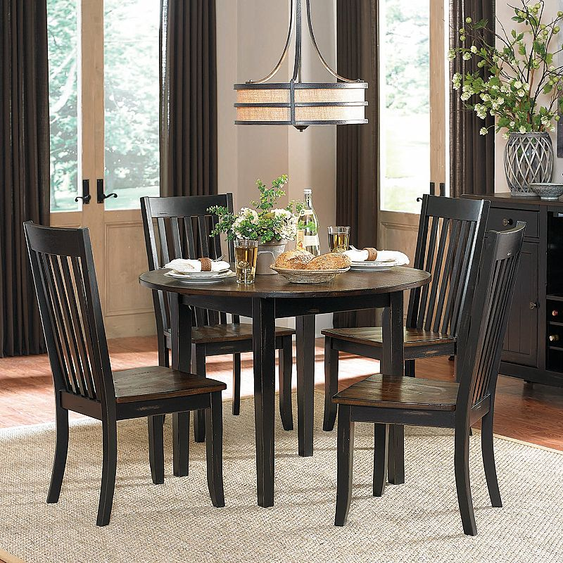 homevance idlewood 5 piece round drop leaf dining set