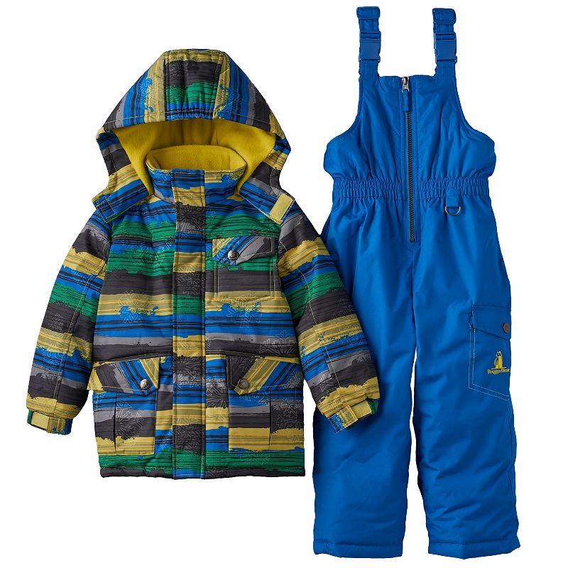 Boys 4-7 Rugged Bear Hooded Jacket & Bib Snow Pants Set