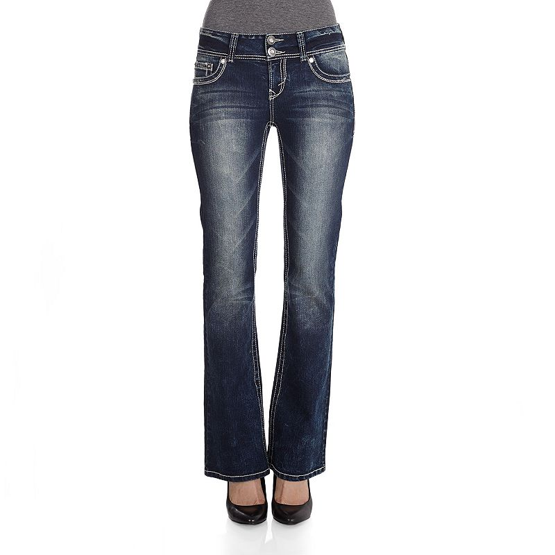 Juniors' Wallflower Curvy Embellished Bootcut Jeans