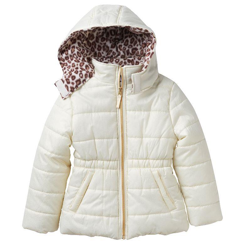 Girls 4-6x Pink Platinum Hooded Glitter Puffer Jacket
