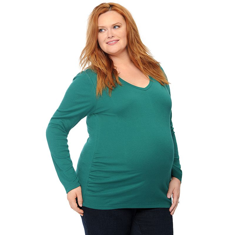 Plus Size Maternity Oh Baby by Motherhood™ V-Neck Ruched Top