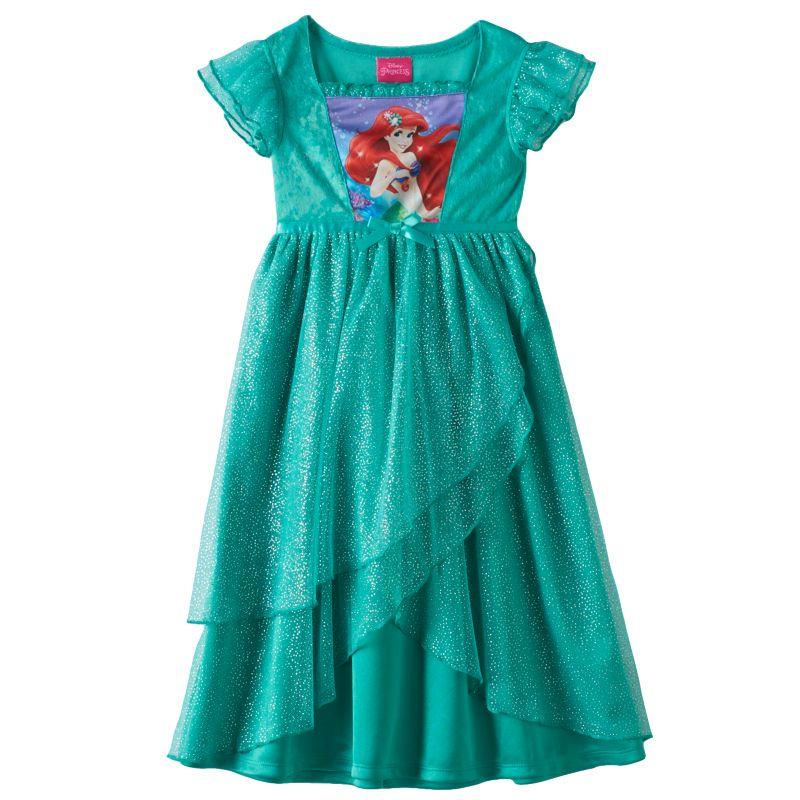 The little mermaid ariel glitter dress up nightgown toddler girl