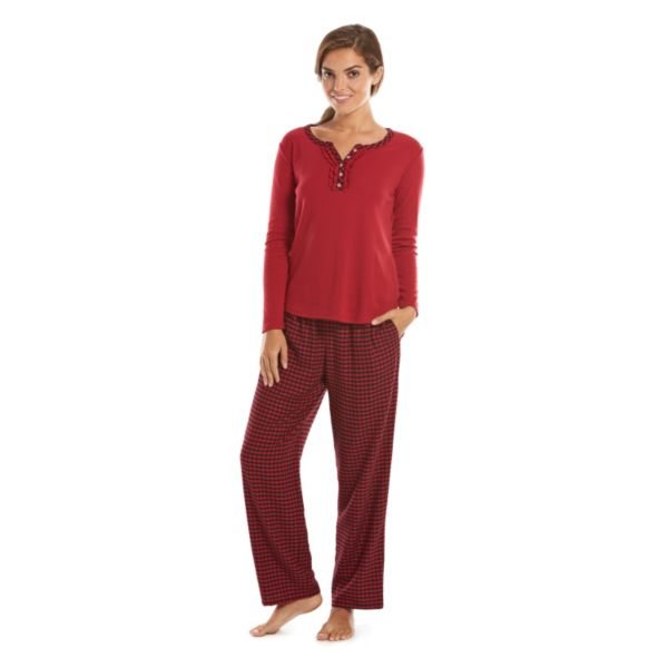 Women's Chaps Pajamas: Ski Valley Lodge Knit Top & Flannel Pants Pajama Set