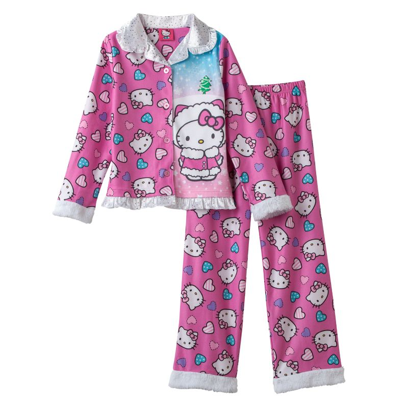 Hello Kitty Fleece Pajama Set - Girls 4-10, Girl's, Size: 4-5, Light Pink
